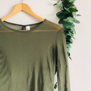 H&M Divided Mesh Army Green Long Sleeve